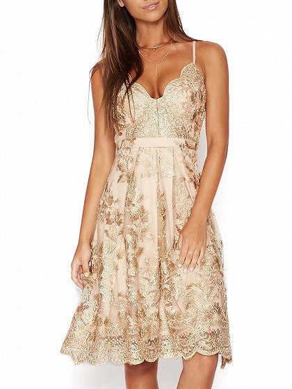 Khaki V-neck Embroidery Scalloped Hem Lace Overly Slim Strap Dress