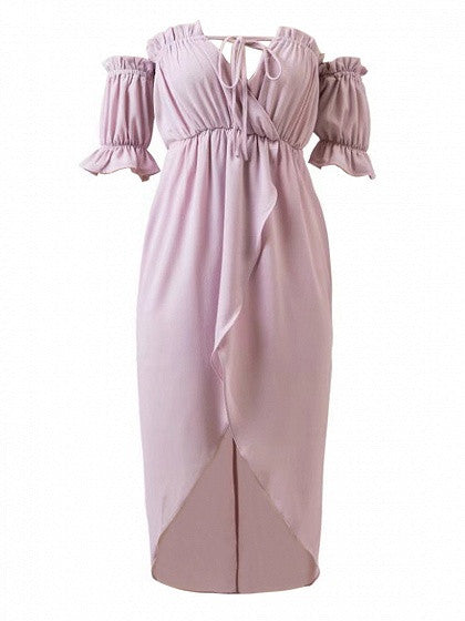 Light Purple Off Shoulder Wrap Asymmetric Hem Chiffon Dress