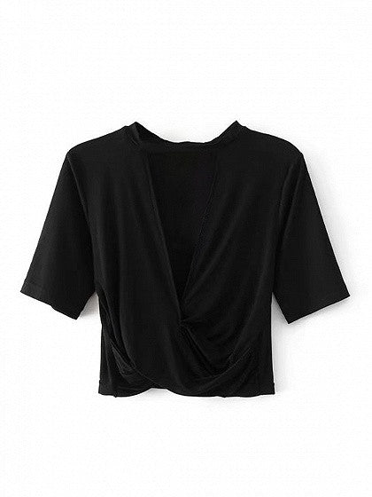 Black V-neck Cross Front Short Sleeve Cropped T-shirt
