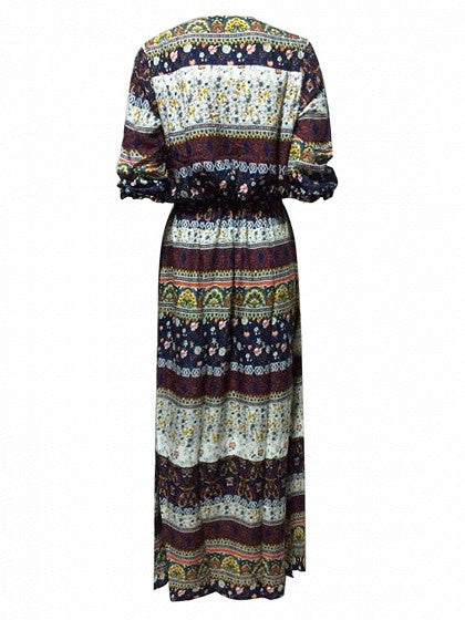 Brown Geo-Tribal Print Button Placket 3/4 Sleeve Maxi Dress