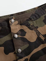 Army Green Camouflage High Waist Pencil Skirt