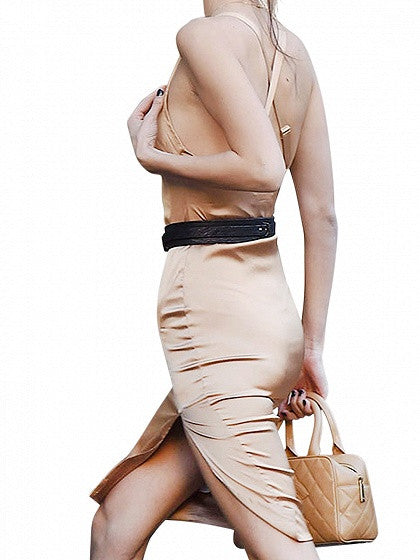 Khaki Satin Look Strap Back Cross Side Split Bodycon Dress