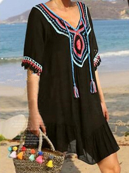 Black Crochet Panel Tassel Tie Fill Hem Dress