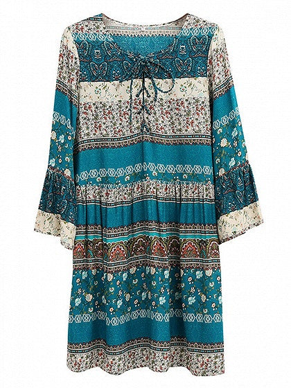 Green Geo-Tribal Print Lace Up Front Bell Sleeve Dress