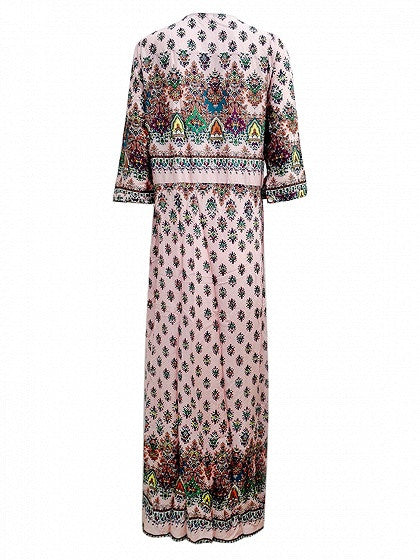 Pink Boho Floral Print Button Front Maxi Dress