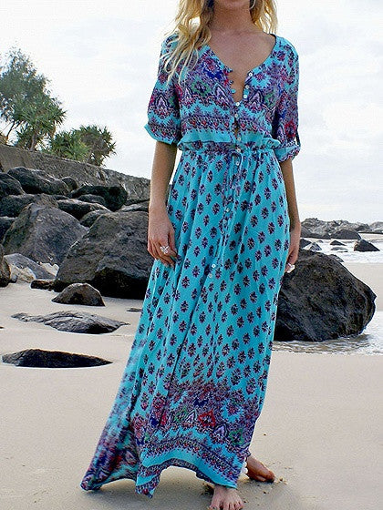 Blue Boho Floral Print Button Front Maxi Dress