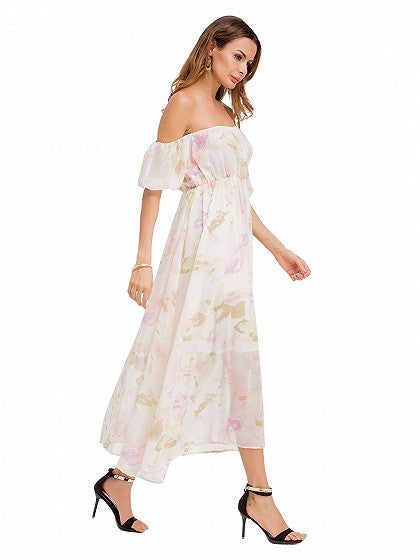 Polychrome Off Shoulder Floral Chiffon Maxi Dress