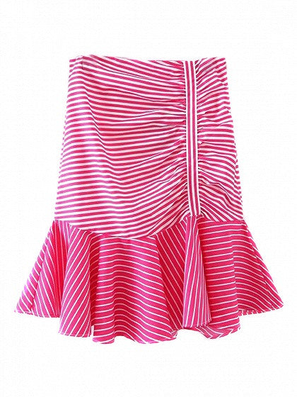 Pink Stripe High Waist Ruched Detail Contrast Ruffle Hem Skirt