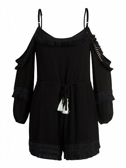 Black Cold Shoulder Tassel Hem Spaghetti Strap Romper Playsuit
