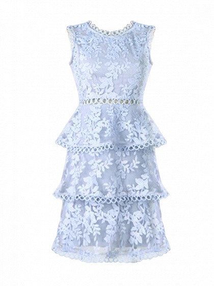 Blue Cut Out Detail Sleeveless Layered Sheer Lace Dress