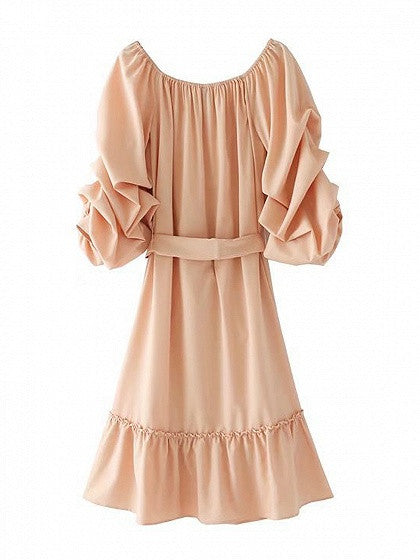 Nude Pink Off Shoulder Ruched Sleeve Tied Waist Ruffle Hem Midi Dress