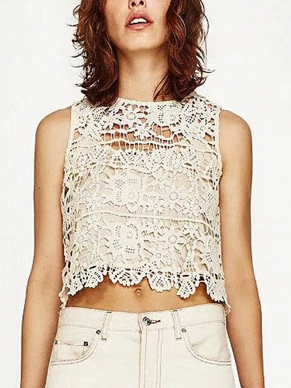 Beige Cut Out Back Crochet Lace Vest