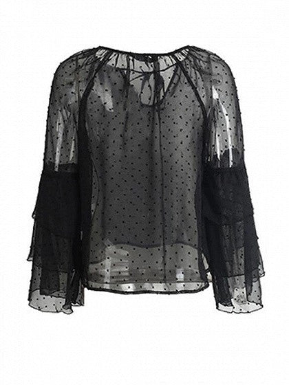 Black Tie Front Ruffle Flared Sleeve Sheer Blouse