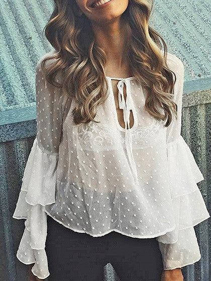 f26566c6fa White Tie Front Ruffle Flared Sleeve Sheer Blouse