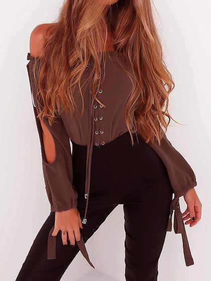 19eed877cf Brown Off Shoulder Lace Up Slit Sleeve Tie Cuff Blouse