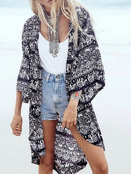 Black Paisley Tribal Elephant Printed Open Front Beach Kimono