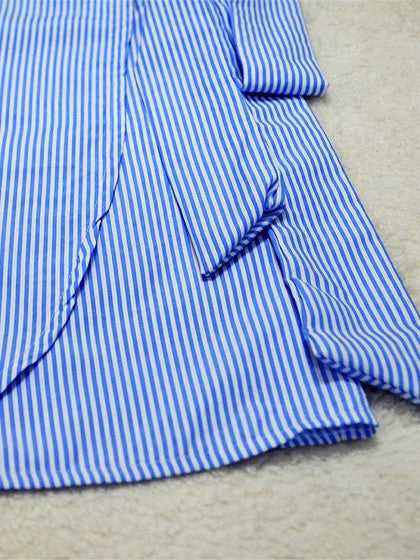 Blue Striped V Neck Wrap Front Tie Waist Asymmetric Hem Dress