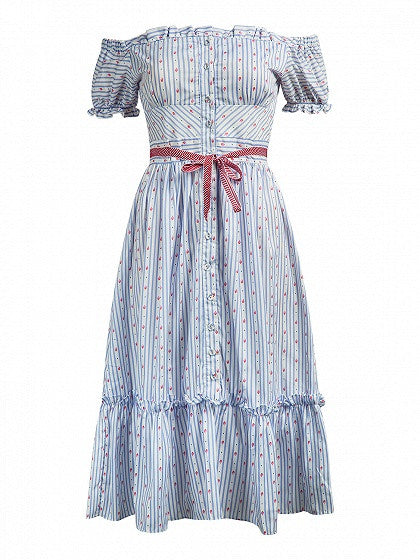 Light Blue Stripe Short Sleeve Off Shoulder Floral Print Midi Dress