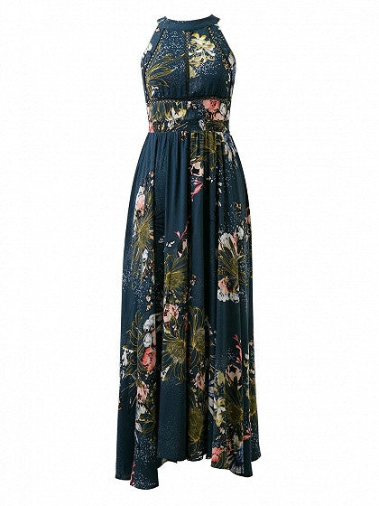 Navy Blue Halter Floral Print Tied Strappy Back Split Maxi Dress