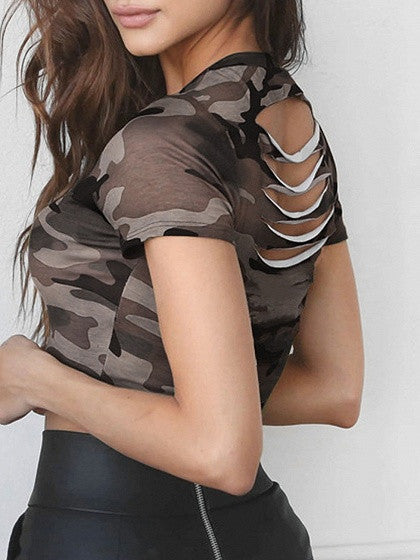 Green Crew Neck Camo Print Slit Back Short Sleeve Crop T-Shirt