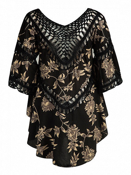 Black Crochet Panel Floral Print Asymmetric Hem Dress