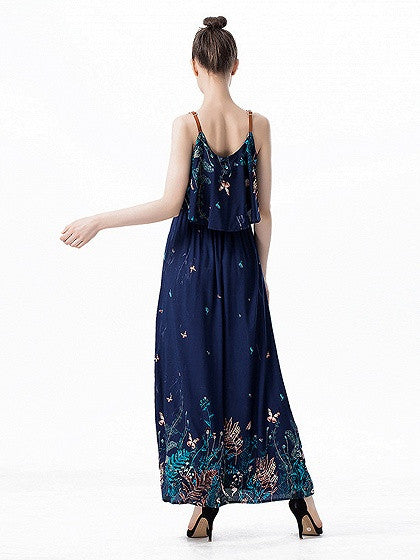 Navy Floral Layered Top Sleeveless Strap Maxi Dress