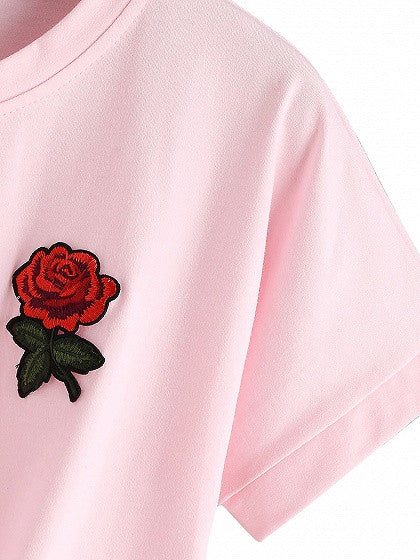 Pink Round Neck Embroidery Rose Tie Front Short Sleeve T-shirt