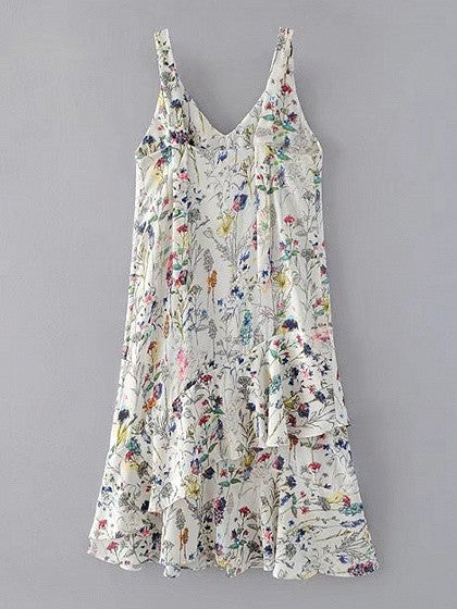 Multi Floral V-neck Sleeveless Ruffle Hem Cami Midi Dress