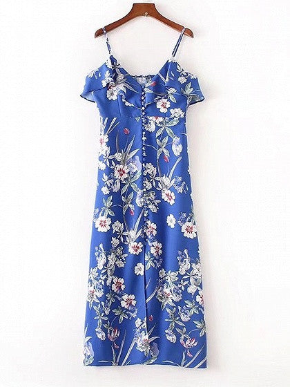 Blue Floral V-neck Ruffle Trim Spaghetti Strap Maxi Dress
