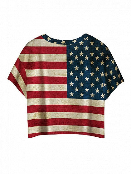 Patriotic 4th Of July American Flag Print Batwing Sleeve T-shirt