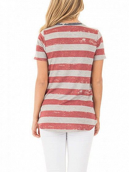 Patriotic 4th of July Grey Stripes  American Flag Short Sleeve T-shirt