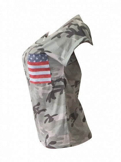 Patriotic 4th of July Camouflage American Flag Pocket Short Sleeve T-shirt