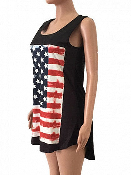 Patriotic 4th of July Black American Flag Print Dipped Hem Tank Top