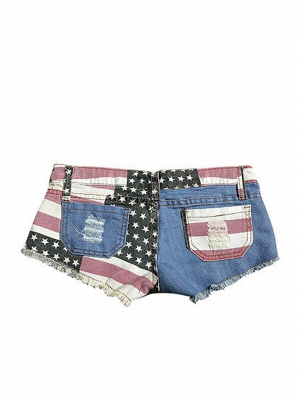 Patriotic 4th of July Blue Low Waist American Flag Pattern Raw Hem Denim Shorts