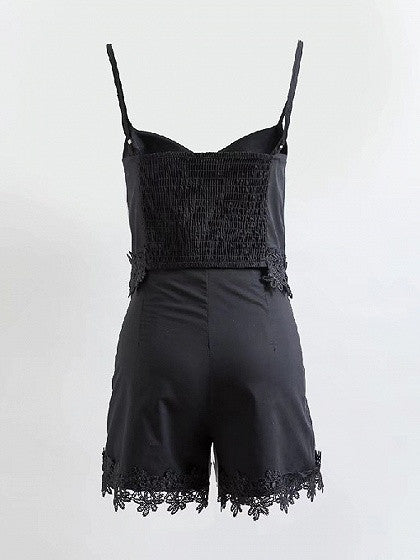 Black V-neck Embroidery Floral Lace Trim Spaghetti Strap Top And Shorts