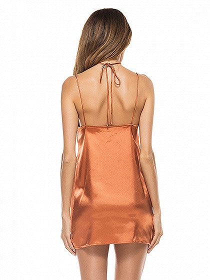 Sexy Orange Halter V-neck Satin Look Cami Mini Dress