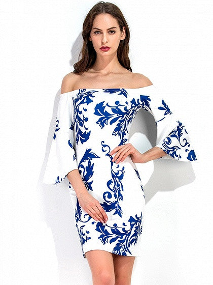 63a1dfcfbd White Off Shoulder Porcelain Print Flare Sleeve Bodycon Dress