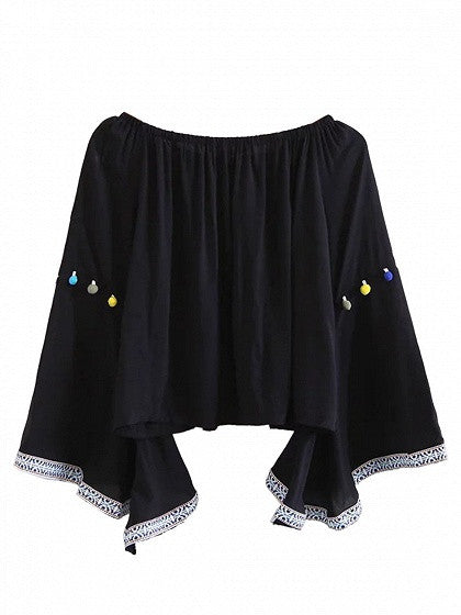 Black Off Shoulder Pom Pom Detail Trimmed Bell Sleeve Top