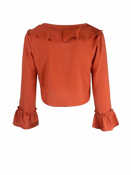 Orange Red Lace Up Ruffle Bell Sleeve Crop Blouse