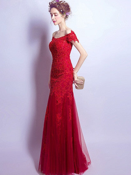 Red Bardot Neck Embroidery Fishtail Maxi Prom Dress – MYNYstyle