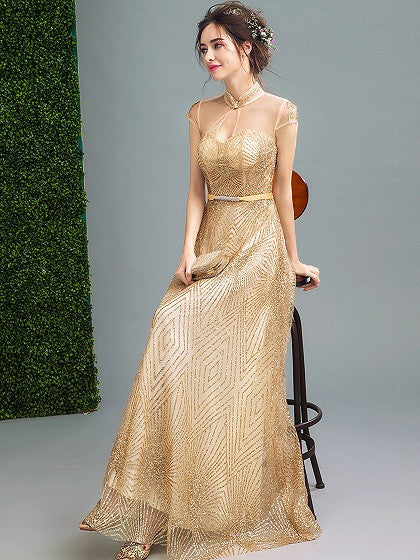 Gold Stand Collar Cap Sleeve Sequin Embellished Mesh Panel Maxi Party Prom Dress