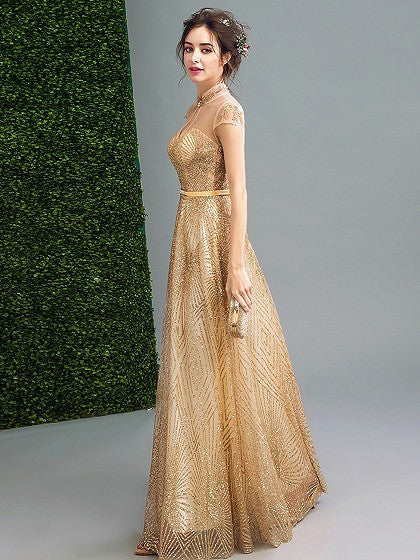 08e8d617882f Gold Stand Collar Cap Sleeve Sequin Embellished Mesh Panel Maxi Party Prom  Dress