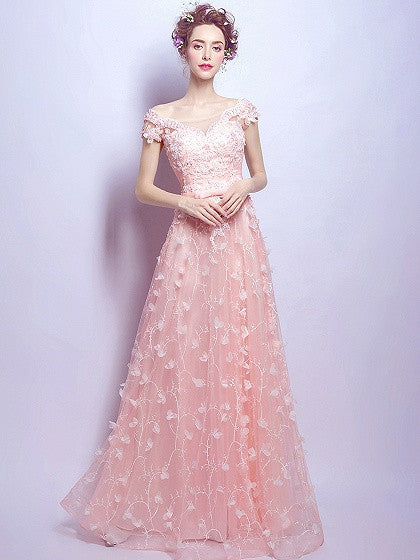 Pink Bardot Embroidery Applique A-line Maxi Party Prom Dress
