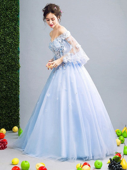 ab3a70846b62 Light Blue Off Shoulder Floral Applique Ball Gown Prom Dress – MYNYstyle
