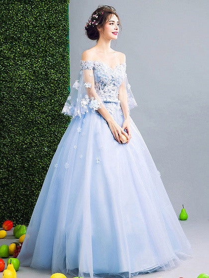 Light Blue Off Shoulder Floral Applique Ball Gown Prom Dress – MYNYstyle