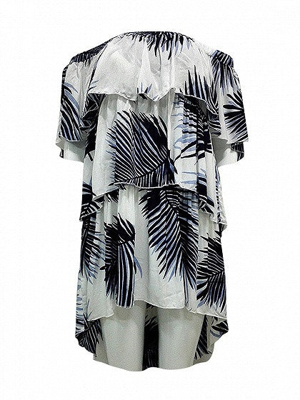 Polychrome Plaid Off Shoulder Pineapple Print Dipped Hem Layered Dress
