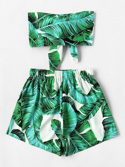 Green Leaf Print Tie Front Crop Top And High Waist Shorts