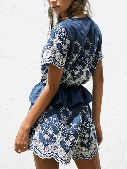 Blue Plunge Embroidery Peplum Short Sleeve Romper Playsuit