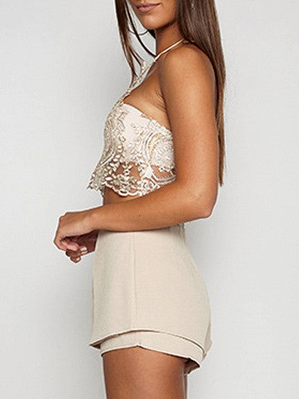 Gold Halter Lace Zip Back Crop Bralette Top