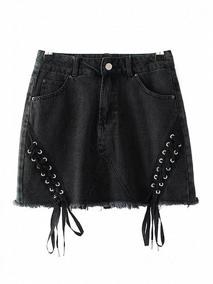 Black High Waist Eyelet Lace Up Side Raw Hem Denim Skirt